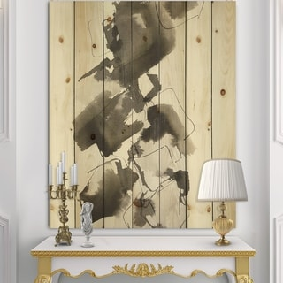 Designart 'Geometric Glam Square I' Modern & Contemporary Print on Natural Pine Wood - Black