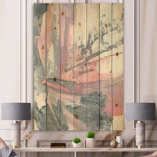 Designart 'Durty Shabby Pink Blush I' Shabby Chic Print on Natural Pine Wood - Grey