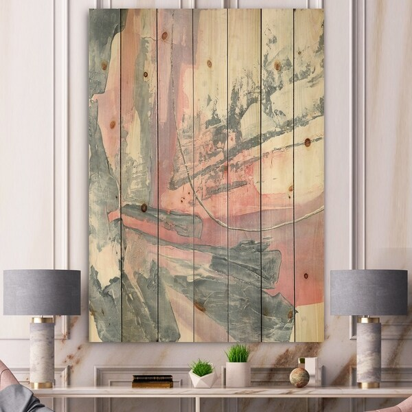 Designart 'Durty Shabby Pink Blush I' Shabby Chic Print on Natural Pine Wood - Grey