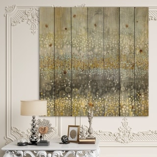 Designart 'Glam Rain Abstract III' Modern & Contemporary Print on Natural Pine Wood - Multi-color