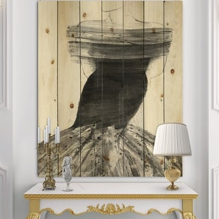 Designart 'Glam and Fashion Feminine IV' Fashion Figures Print on Natural Pine Wood - Black