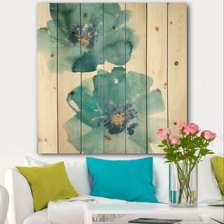 Designart 'Blue Cosmos Indigo II' Farmhouse Print on Natural Pine Wood - Blue