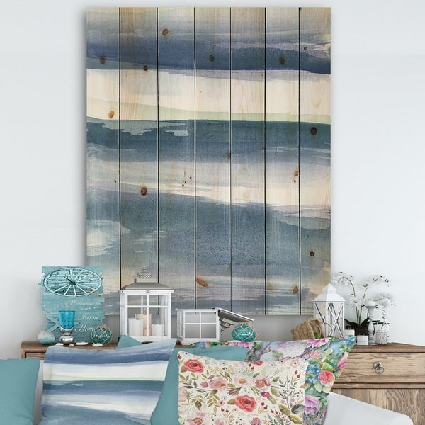 Designart 'Mint Indigo Dawn III' Farmhouse Print on Natural Pine Wood - Blue