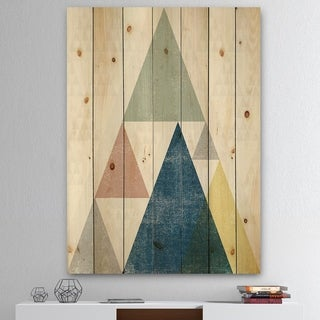 Designart 'Geometrical Composition Triangles I' Modern & Transitional Print on Natural Pine Wood - Multi-color