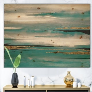 Designart 'Glam Teal Watercolor II' Modern & Contemporary Print on Natural Pine Wood - Multi-color
