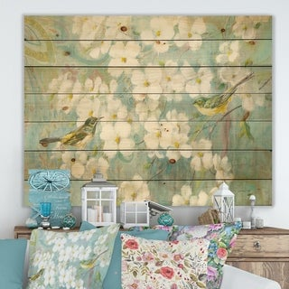 Designart 'Birds on Blossom' Traditional Print on Natural Pine Wood - Blue