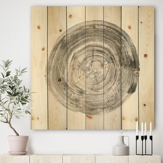 Designart 'Circle natural elements IV' Farmhouse Print on Natural Pine Wood - Multi-color