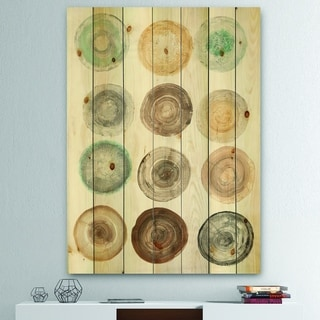 Designart 'Geometric Cream Circles ' Modern & Contemporary Print on Natural Pine Wood - Multi-color