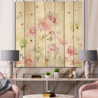 Designart 'Shabby Flower IV' Farmhouse Print on Natural Pine Wood - Green/Pink