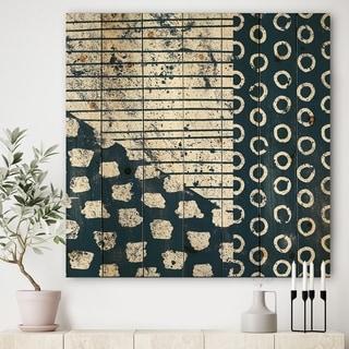 Designart 'Indigo striples and Tile' Modern & Transitional Print on Natural Pine Wood - Blue/White