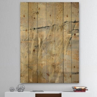 Designart 'Geometric Cream Block II' Modern Glam Print on Natural Pine Wood - Multi-color