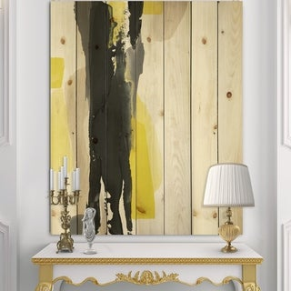 Designart 'Glam Black and Yellow II' Modern & Contemporary Print on Natural Pine Wood