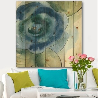 Designart 'Blue Floral Poppies IV' Cottage Print on Natural Pine Wood - Blue