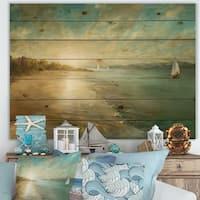 Designart 'Coastal Pastel Horizon' Nautical & Coastal Print on Natural Pine Wood - Blue/Brown