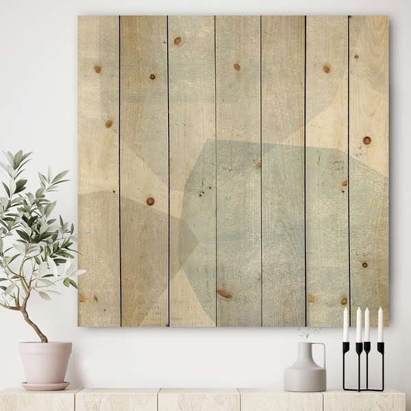 Designart 'Grey and White Collage II' Modern & Contemporary Print on Natural Pine Wood - Blue