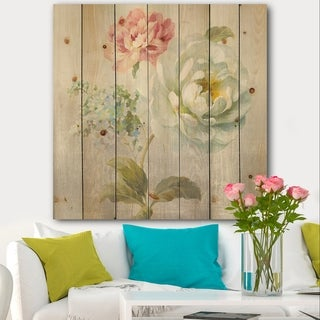 Designart 'Country Flower Bouquet' Cabin & Lodge Print on Natural Pine Wood - Blue/Pink