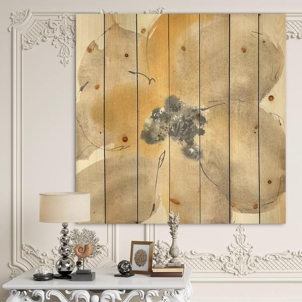 Designart 'Galm Flower Tones I' Traditional Print on Natural Pine Wood - Multi-color