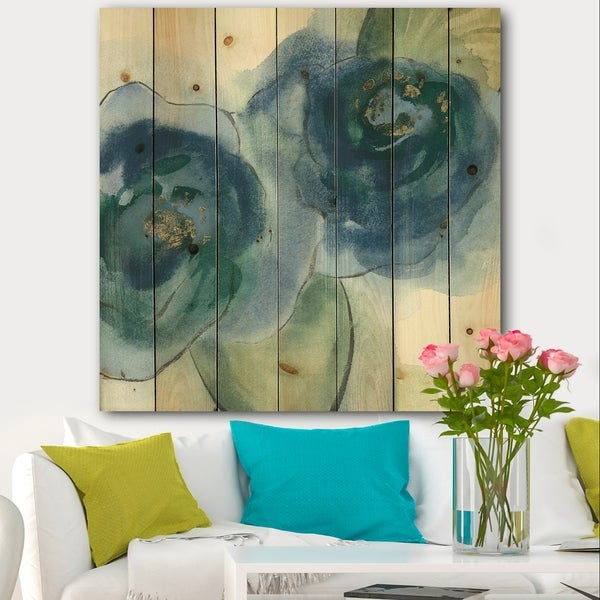 Designart 'Blue Floral Poppies III' Cottage Print on Natural Pine Wood - Blue