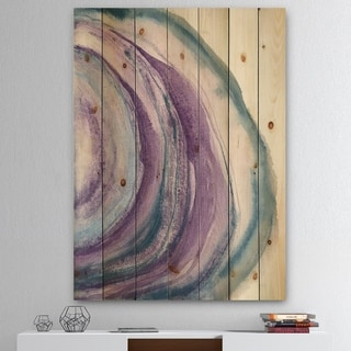 Designart 'Watercolor Geode I' Farmhouse Print on Natural Pine Wood - Purple