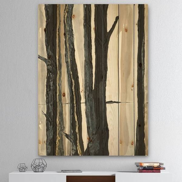 Designart 'Forest Silhouette II' Modern Farmhouse Print on Natural Pine Wood - Black