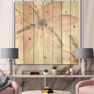 Designart 'Pink Shabby Floral II' Shabby Chic Print on Natural Pine Wood - Grey/Pink