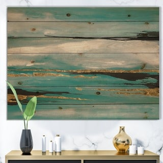 Designart 'Glam Teal Watercolor I' Modern & Contemporary Print on Natural Pine Wood - Multi-color