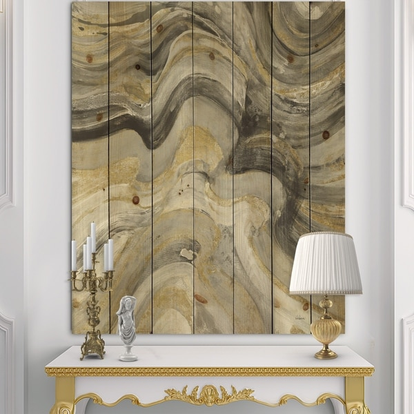Designart 'Glam Gold Canion' Modern & Transitional Print on Natural Pine Wood - Multi-color