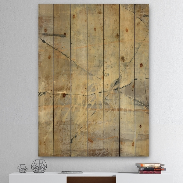 Designart 'Geometric Cream Block III' Modern Glam Print on Natural Pine Wood - Grey
