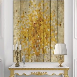 Designart 'Glam Yellow Explosion Blocks' Modern & Transitional Print on Natural Pine Wood - Multi-color