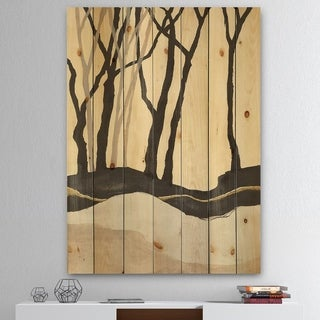 Designart 'Forest Silhouette IV' Modern Farmhouse Print on Natural Pine Wood - Black