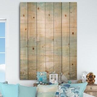 Designart 'Sunrise Boat I' Nautical & Coastal Print on Natural Pine Wood - Blue