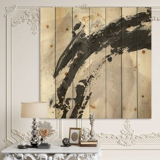 Designart 'Glam Painted Arcs IV' Transitional Print on Natural Pine Wood - Black