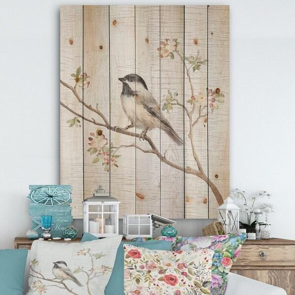 Designart 'Birds on Blossom I' Farmhouse Print on Natural Pine Wood - Multi-color