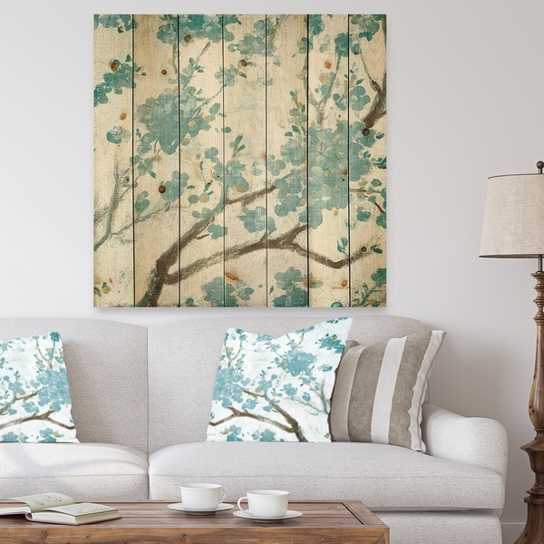 Designart 'Teal Cherry Blossoms I' Traditional Floral Print on Natural Pine Wood - Blue