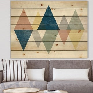 Designart 'Geometrical Composition Triangles III' Modern & Transitional Print on Natural Pine Wood - Multi-color