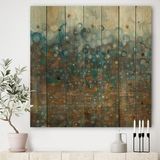 Designart 'Blue and Bronze Dots' Modern & Contemporary Print on Natural Pine Wood - Blue/Brown