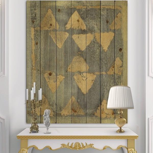 Designart 'Glam Metallic Form I' Modern & Transitional Print on Natural Pine Wood - Grey