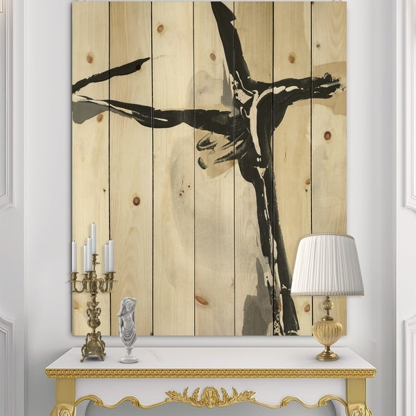 Designart 'Creamy Tan Form I' Modern Glam Print on Natural Pine Wood - Black