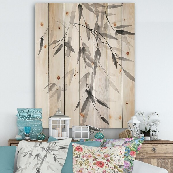 Designart 'Simplist Bamboo Leaves V' Cabin & Lodge Print on Natural Pine Wood - Black/White