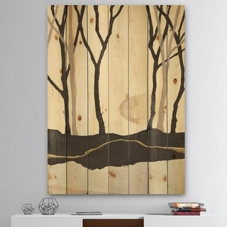 Designart 'Forest Silhouette III' Modern Farmhouse Print on Natural Pine Wood - Black