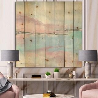 Designart 'Metallic Shabby Pink I' Shabby Chic Print on Natural Pine Wood - Blue