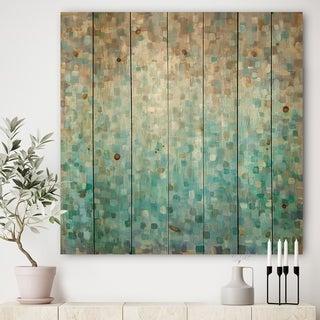 Designart 'Blocked Abstract' Nautical & Coastal Print on Natural Pine Wood - Blue