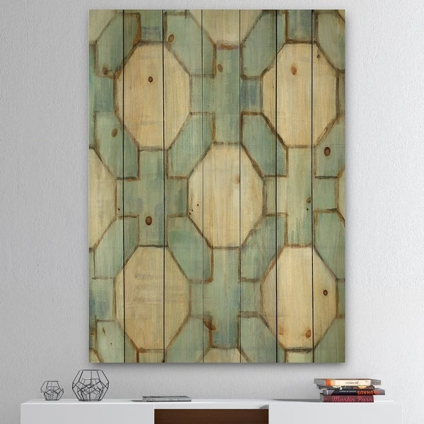 Designart 'Geometric Title Element' Modern & Contemporary Print on Natural Pine Wood - Blue