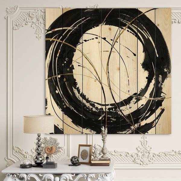 Designart 'Gold Metallic Circle' Modern Glam Print on Natural Pine Wood - Black