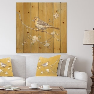 Designart 'Gold Bird on Blossoms I' Farmhouse Print on Natural Pine Wood - Grey