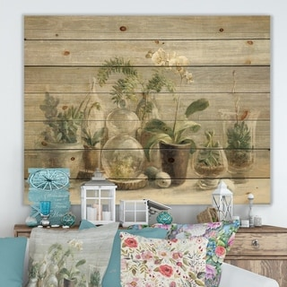 Designart 'Composition of Orchids' Traditional Print on Natural Pine Wood - Green/Brown