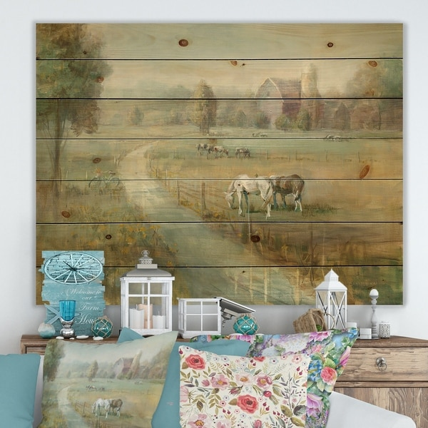 Designart 'Tranquil Country Field' Farmhouse Print on Natural Pine Wood - Green/Brown