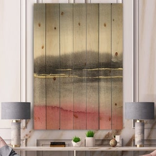 Designart 'Pink Shabby Storm II' Shabby Chic Print on Natural Pine Wood - Black/Pink