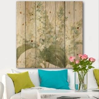 Designart 'Goauche Green Flower II' Cabin & Lodge Print on Natural Pine Wood - Grey