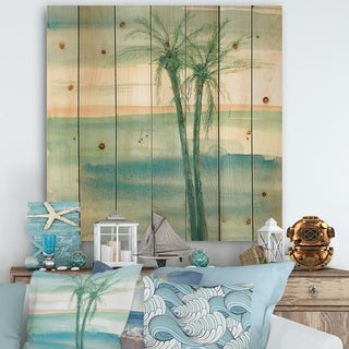Designart 'Peaceful Dusk II Tropical' Tropical Print on Natural Pine Wood - Blue